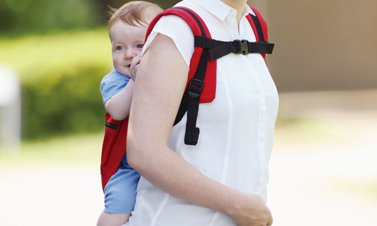 There is no waist belt, so baby stays close to your body for more stability